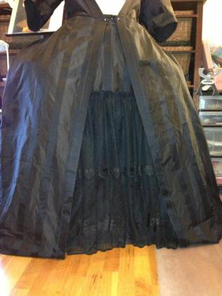 Robe a la francaise with petticoat, in progress