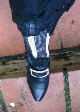 stripey stockings & antique paste buckles (the latter courtesy of Francis)