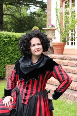red & black stripey redingote, photo by Kendra