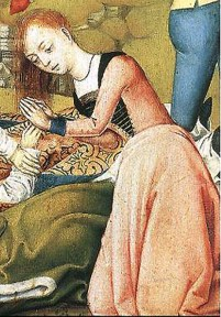 1480-1500, detail of handmaiden from Scenes From the Life of St Ursula by unknown master from Bruges