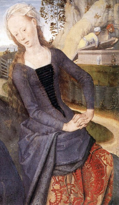 1480, detail of Mary Magdalene from the Triptych of Adriaan Reins by Hans Memling of Seligenstadt/Bruges