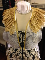 Gold falling ruff and partlet, worn with Venetian gown