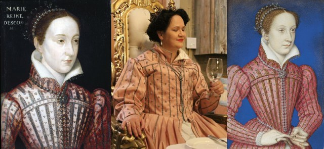 Mary Queen of Scots V&A painting, left; my reproduction, center, photo by Sandra Linehan; Mary Queen of Scots Holyrood miniature, right