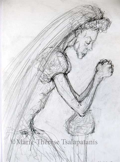 dessins-sculpture-marie-therese-tsalapatanis-la mariée