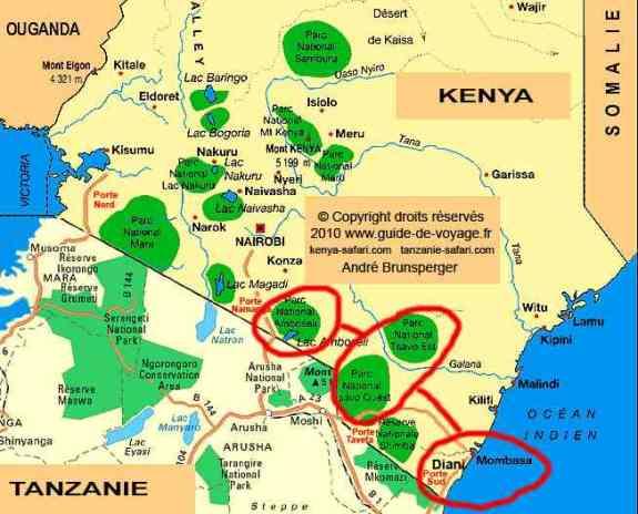 Carte - Amboseli- Safari Tsavo Amboseli en camp 3jours de Diani Beach Kenya. Safari authentique depuis les plages de l'océan Indien de Diani Beach vers le Tsavo 3 jours en camps