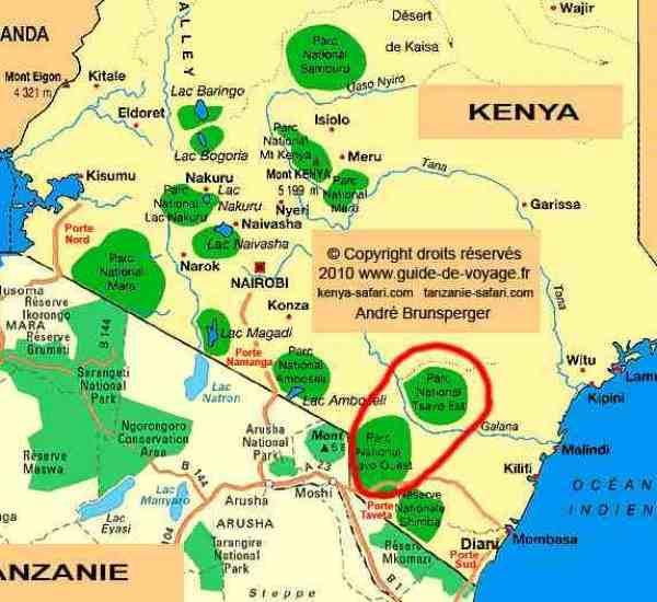 Safari Tsavo Est et Ouest en lodge 2jours Kenya depuis Diani