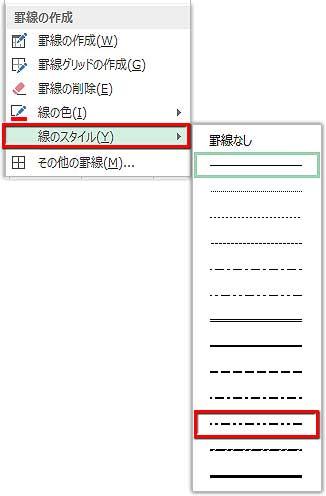 罫線の線スタイルの指定