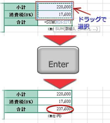 オートSUMをクリック、セル範囲選択、Enterで入力