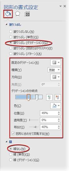 図形の書式設定作業ウィンドウでグラデーションの設定