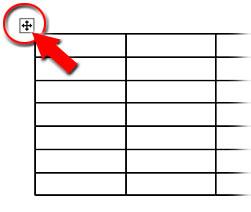表の外の十字形を四角で囲ったマークをクリックして表全体を選択