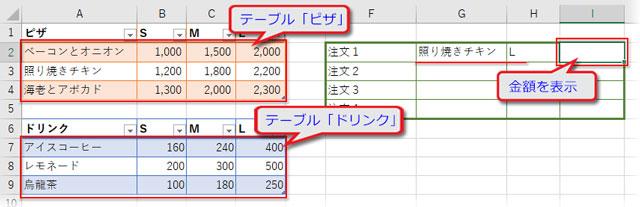 2つの範囲(テーブル)から金額を求める