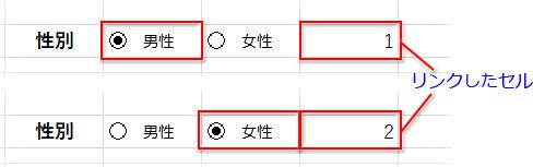リンクしたセルに「男性」ボタンがオンになったら「1」、「女性」ボタンがオンになったら「2」と表示