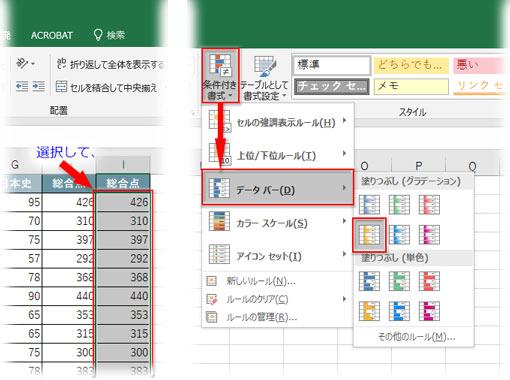 条件付き書式からデータバー→塗りつぶしのタイプを選ぶ