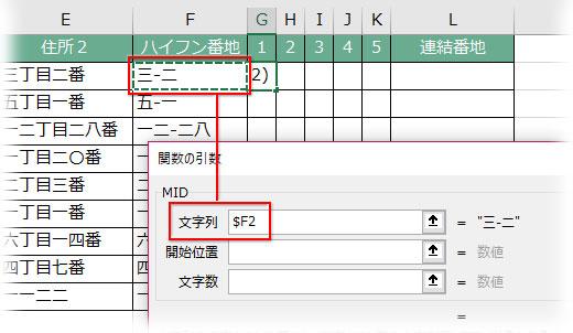 MID関数の引数「文字列」に抽出元の範囲を指定