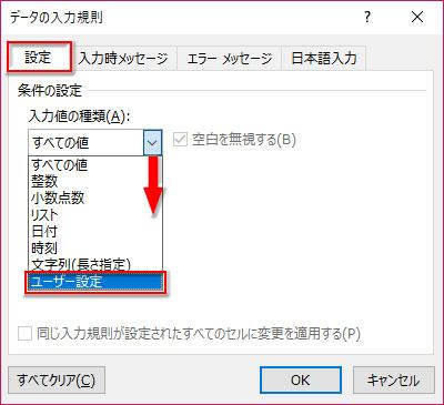 データ入力規則の入力値の種類からユーザー設定を選択