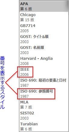 バンクーバー方式の「IEEE」と「ISO 690:参照番号」