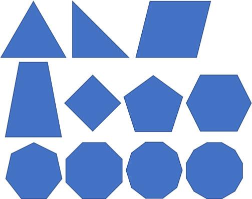 基本図形の三角形・平行四辺形・台形・多角形