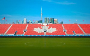 Soccer and the skyline at BMO Field