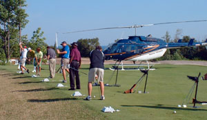 National Helicopters flies to arrive at tee time