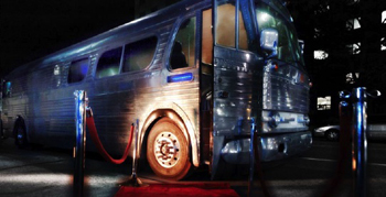 In motion or parked, the Silver Bus makes a luxe venue