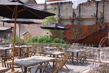 Evergreen Brick Works backdrops Cafe Belong's patio