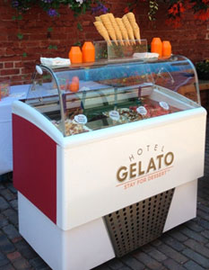 Hotel Gelato can event deliver gelato including gluten-free and dairy-free flavours in a portable cart