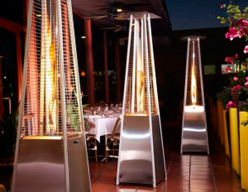 Stylish heaters from Varsity Tent & Event Rentals