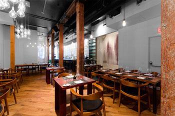 Woods Restaurant has a lovely loft-like appeal