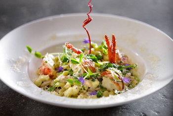 Clear Water lobster, nokedli and peas