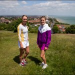 eugenie bouchard and caroline wozniacki pose for eastbourne