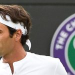 Roger Federer of Switzerland takes on Gilles Simon of France in their quarter final match during the Wimbledon Championships at the All England Lawn Tennis Club, in London, Britain, 08 July 2015.