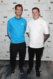 """NEW YORK, NY - AUGUST 27: Andy Murray (L) and chef Scott Schneider of Ai Fiori attend """"An Evening With Andy Murray"""" event at Langham Place on August 27, 2016 in New York City. (Photo by Rob Kim/Getty Images for Langham Place, New York)"""