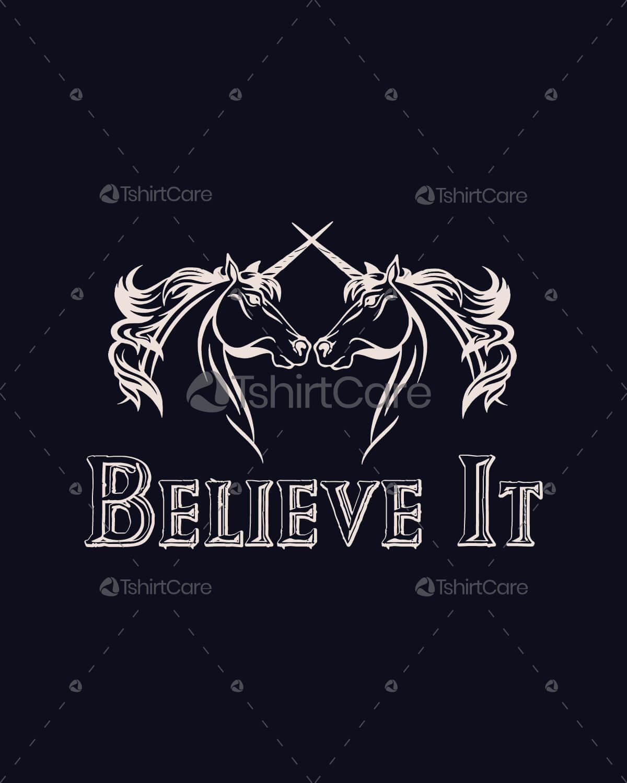 Believe In Cute Unicorns T Shirt design, Funny Magical ...