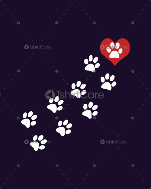 d1b33b5d9 I love dog paws T-shirt Design for Animal Lovers Men, Women & Kid Tee & Top