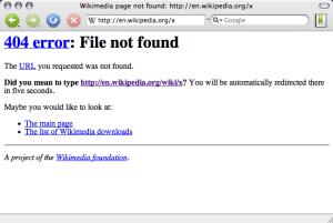 Wikipedia 404 page