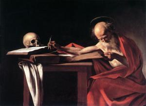 St. Jerome with skull on table
