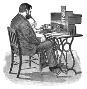 Dictation using wax cylinder phonograph