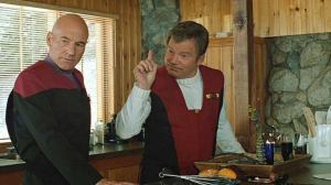 Patrick Stewart and William Shatner in Star Trek: Generations