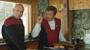 Patrick Stewart and William Shatner in Star Trek: Generations
