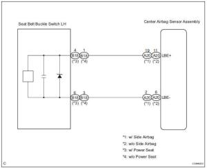 Toyota Sienna Service Manual: Seat Belt Buckle Switch LH Circuit Malfunction  Diagnostic