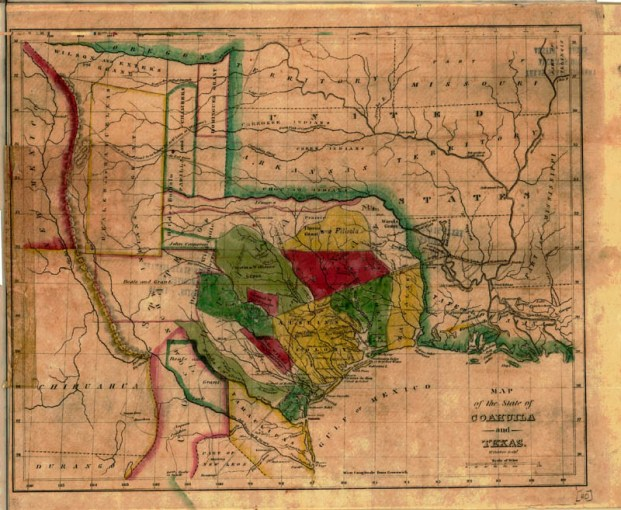 Map of the State of Coahuila and Texas  1836   TSLAC Map of the State of Coahuila and Texas   1836