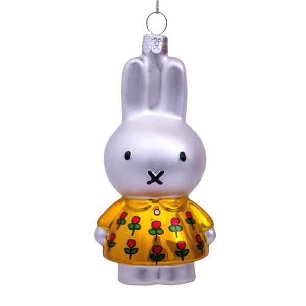 NIJNTJE MET GELE BLOEMENJURK KERSTBAL HANGER miffy christmas baulb ornament christmas tree yellow dress with tulips