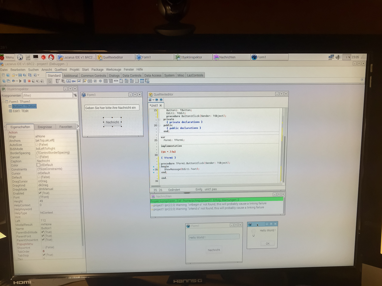 """Das erste """"Hallo World""""-Programm auf dem RaspBerry Pi 3"""