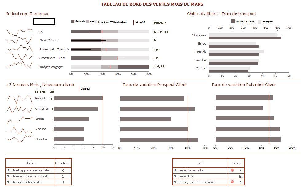 Exemple Mise en place tableau de bord commercial | Tss Performance : A chacun son tableau de bord
