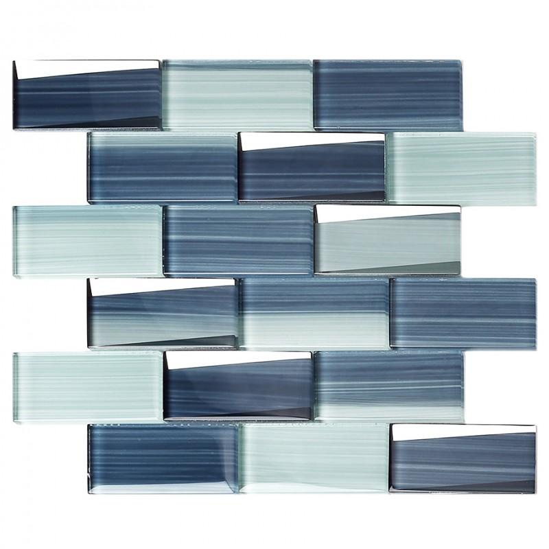 tst hand painted blue strips glass tile subway brick accent wall backsplash art mosaic tiles tstnb20