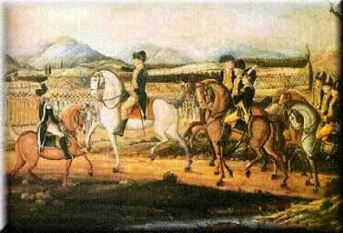 Gen. Washington, astride his favorite white horse, reviewing his troops at Carlisle, Pennsylvania, before the march to the western part of the state to put down the Whiskey Rebellion. Image from the Department of the Treasury, Alcohol and Tobacco Tax and Trade Bureau.