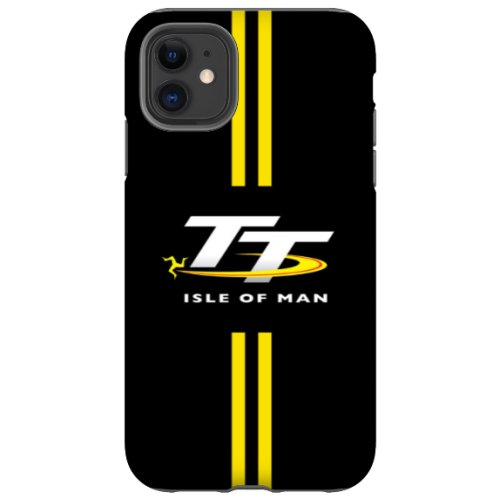 Isle of Man TT Logo Phone Case in Black with Yellow Stripes