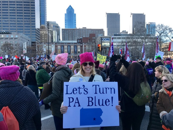 "Melissa Shusterman at Women's March 2018 with ""Turn PA Blue"""" Sign and her Pink Hat"