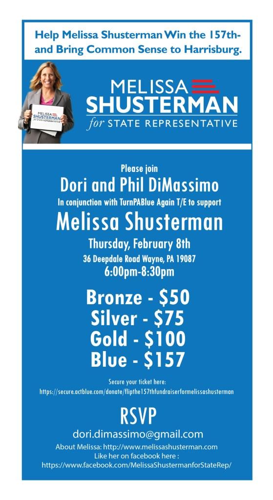 Fundraiser in Tredyffrin for Melissa Shusterman February 8, 2018 @ Dimassimo Home   Wayne   Pennsylvania   United States
