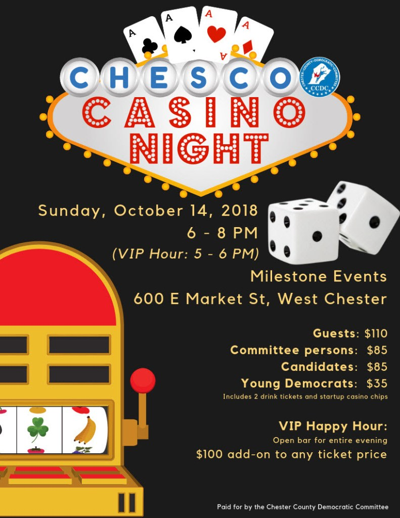 Invitation with dice and slot machine for CCDC casino night
